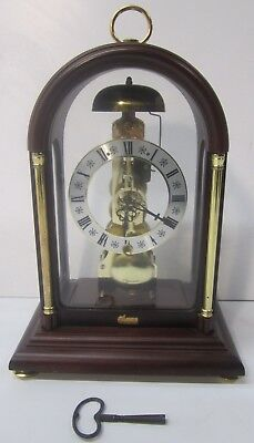 Vtg Franz Hermle Skeleton Mantel Clock Wood Glass Dome Case 791-081 Movement