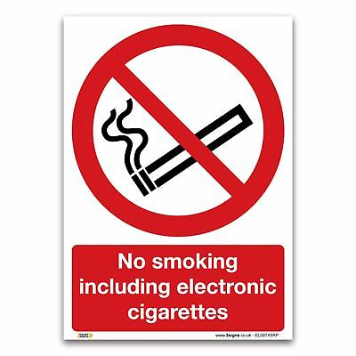 No smoking including electronic cigars Sign - Plastic Prohibition Information