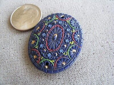 Vintage Czech Egyptian Revival Art Deco Glass Bead Pendant Blue Colorful 32x25mm