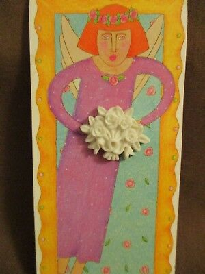 Margaret Furlong 1996 White Rose Bouquet Lapel Pin on card