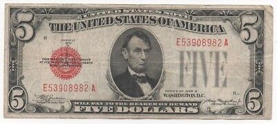 1928 series $5 Five Dollar Red Seal Note Bill US Currency F-XF