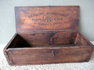 Antique Box ARMSTRONG DIES Vintage Primitive Wood Shipping, Storage, CT