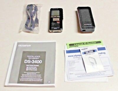Olympus DS-3400 Digital Voice Recorder with Manual, USB Cables, Software & Case
