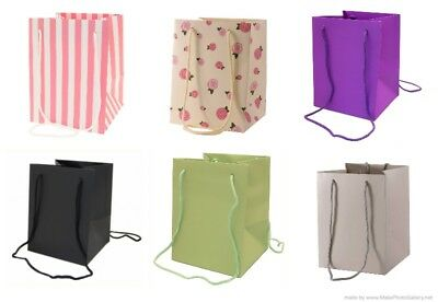 Pack of 10  Hand Tied Florist Flower Gift Bags with Rope Handle - Colour Choice