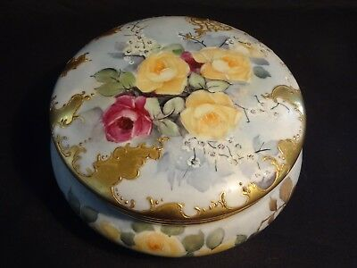 Antique French Limoges Large Powder Dresser Jar Box Hand Painted Gold Trim