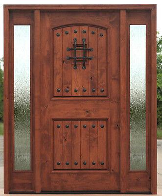 Tuscan Style Arched Top Entry Door With Side Lites