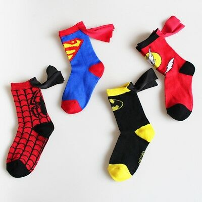 Hot Cartoon Anime Batman Spiderman Superman Flash Super Hero Cotton Child Socks