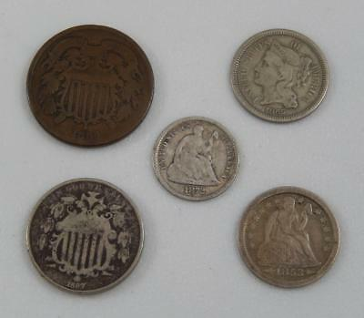 Antique Obsolete US Coin Lot 2¢ 3 Cent Shield Nickel Seated Dime Half Dime C0791