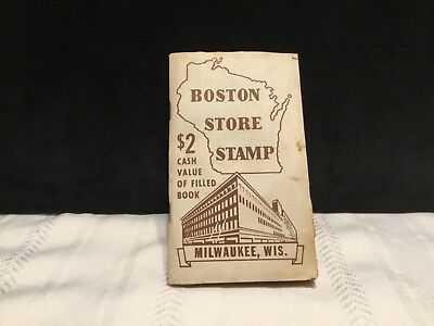 Vtg. Boston Store Dept Store Trading Green Stamp Book w/Stamps Milwaukee WI -H55
