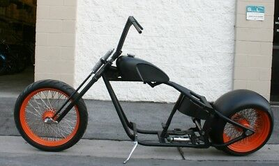 2018 Custom Built Motorcycles Bobber  MMW SUPER FUNK ORANGE CRUSH  300 TIRE ,,SOFTAIL  BOBBER ROLLING CHASSIS