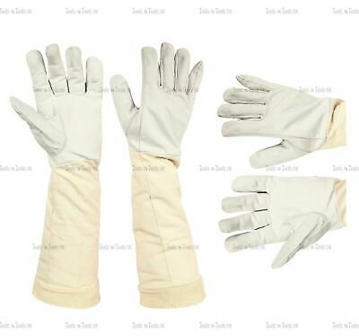 Beekeeping Cow Leather Protective Gloves Canvas Fabric 100% Cotton Cuff 4 Sizes