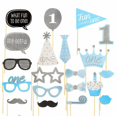 20 PCS Boy 1st Birthday Photo Booth Props Blue Baby Show First Party Decoration