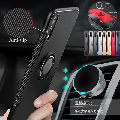 For Huawei P20 Lite Shockproof Armor Hybrid Ring Car Holder Magnetic Cover Case