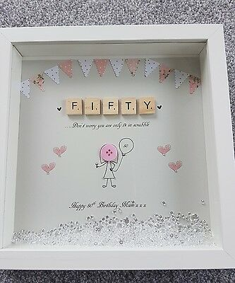 PERSONALISED BIRTHDAY SCRABBLE Frame (50th) gift, buttons, box frame ...
