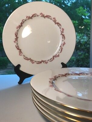 MINTON PINK LAURENTIAN Dinner Plate Gold Trim Bone China England 6 Available