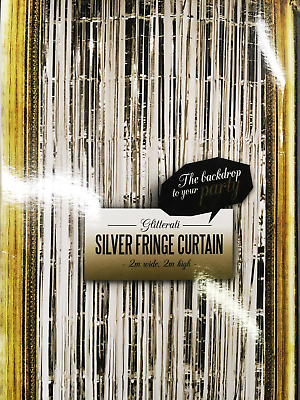 2 m Silver Gold Long Metallic Foil Fringe Tinsel Curtain Wedding Backdrop Baloon