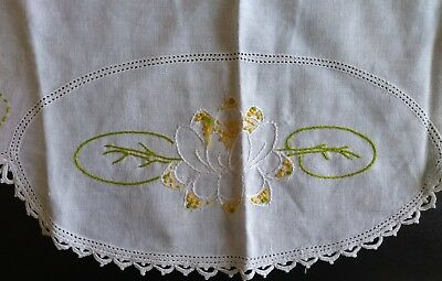 Vintage Hand Embroidered Floral White Linen Round Small Tablecloth Crochet Trim