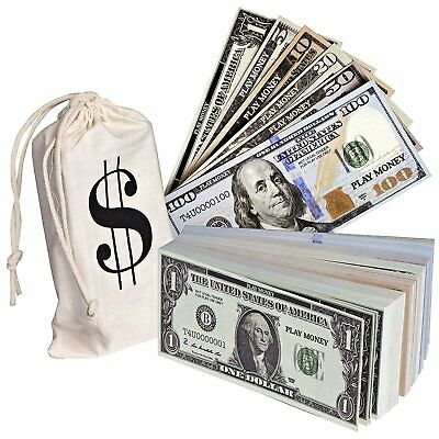 Realistic Double Sided Money Stack Fake Dollar Bills 50 of Each Amount 300 Bills