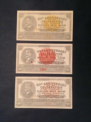10 /& 15 Cent Unc 1933 Ringling Brothers Circus Baraboo Wisconsin Scrip 5 Notes