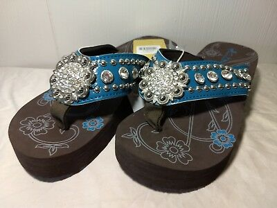 b9ffbe7a7 Montana West Teal Blue Wedge Sole Bling Floral Concho Flip Flops Sandals  Size 6