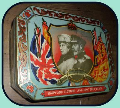 Rare Old Rustic Hinged Tin King George V Queen Mary 1910 1935 Long MayThey Reign