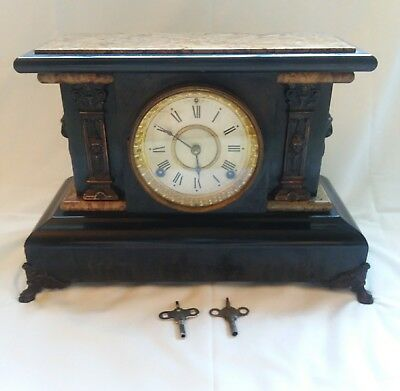 ANTIQUE 1880 Seth Thomas #102 Adamantine Mantle Clock WORKS with key