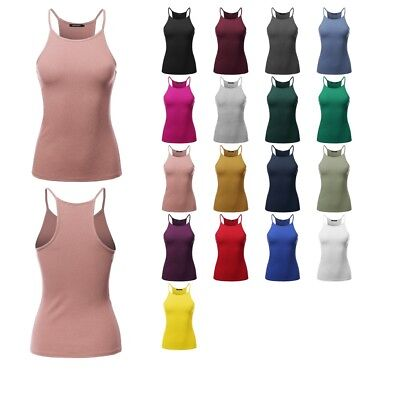 218227f07d FashionOutfit Women's Solid High Neck Racer-Back Ribbed Spaghetti Strap  Tank Top