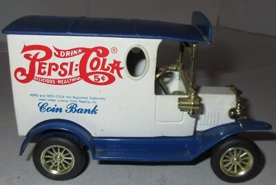 Pepsi Cola Coin Bank Golden Class NO KEY White Blue Truck Double Dot Replica Toy