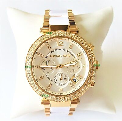 0685ef511705 Michael Kors Women s Watch Parker Gold White Band White Acetate MK6119  Genuine