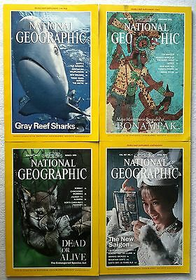 4 x National Geographic Magazine January, February, March & April 1995