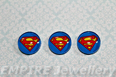 2 x Superman Super Hero 12x12mm Glass Cabochons Cameo Dome DC Comic Kent