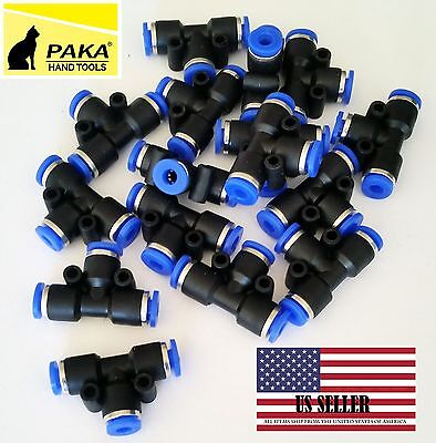 "10x Pneumatic Tee Union Connector Tube OD1/8"" 4mm One Touch Push In air fitting"