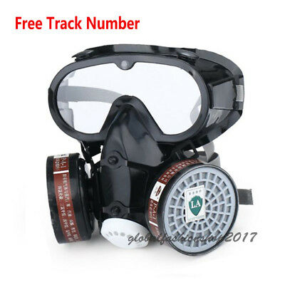 New Painting Respirator Gas Mask Safety Chemical Anti-Dust Filter Eye Goggle Set