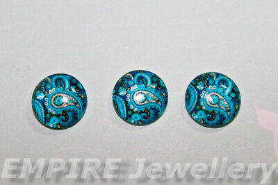 2 x Blue Paisley Pattern 12x12mm Glass Cabochons Cameo Dome Floral
