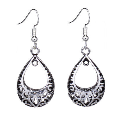 Retro Vintage Antique Silver 3D Hollow Out Tear Drop Earrings For Women Unique