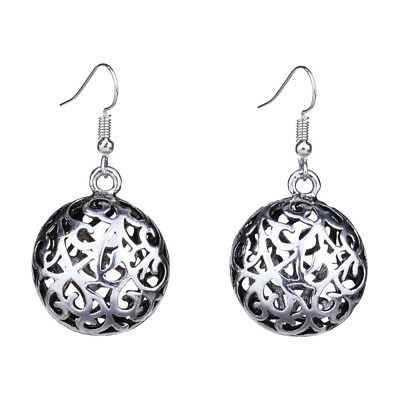 Retro Vintage Antique Silver Vine Hollow Out 3D Round Drop Earrings For Women