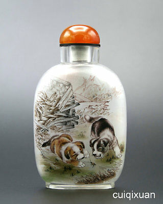 Chinese Glass Hand Inside-painted Animal Dog Pattern Snuff Bottle no.3