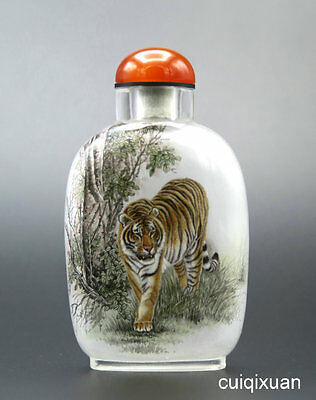 Chinese Glass Hand Inside-painted Animal Tiger Pattern Snuff Bottle