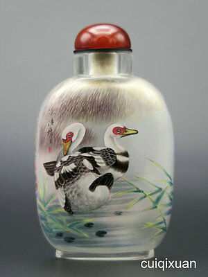 Chinese Glass Hand Inside-painted Birds and Flower Pattern Snuff Bottle No.7