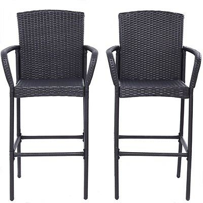 2pcs/set Outdoor Rattan Dining Bar Stools Patio Armrests Chairs Foot Tube Seats