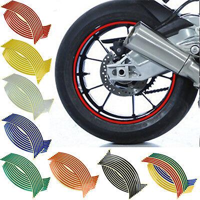 "18"" 16 Strips Reflective Motorcycle Car Rim Stripe Wheel Decal Tape Sticker Fsp"