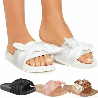Womens Ladies Bow Flat Soft Sliders Sandals Comfy Slides Slippers Satin Summer