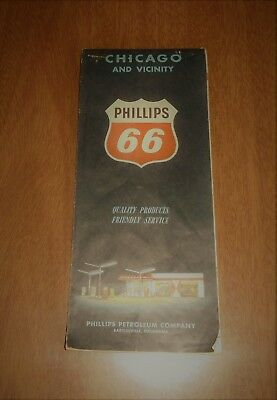 Vintage 1960 Phillips 66 Gas Oil Travel Road Map Chicago & Vicinity