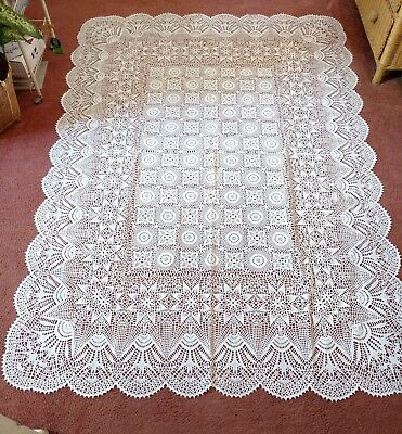 Vintage White Vinyl Embossed Crochet Lace Tablecloth 52 X 76
