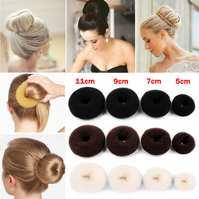 Women Girls Sponge Hair Bun Maker Ring Donut Shape Hairband Styler Tool 5-11cm