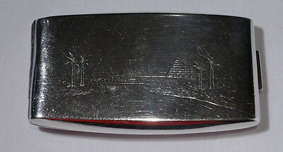 EGYPTIAN Sterling SILVER British Colonial Cigarette CASE Engraved PYRAMIDS 1939