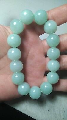 100% Natural Genuine Burmese Jadeite Jade Beaded Bracelet Genuine Grade A #77822
