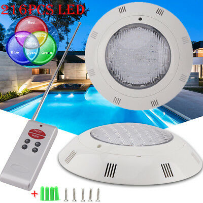 12V 216PCS LED RGB Underwater Swimming Pool Light Wall Mounted W/ Remote Control