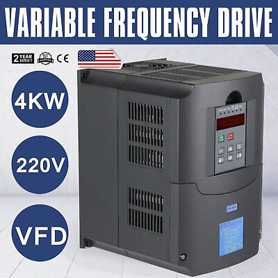 TOP 4KW 220V 5HP VFD VARIABLE FREQUENCY DRIVE INVERTER Three Phase CE QUALITY