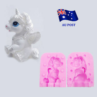 Unicorn Horse Molds Candle Shaped Handmade Soap Cake Sugar Silicone Mould 3D NW